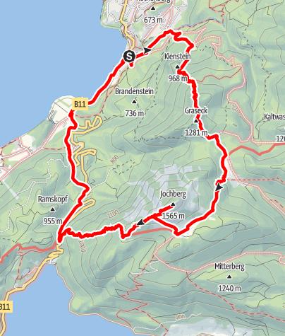 Karte / Jochberg (1.565m) über Sonnenspitz (1.269m) vom Kochelsee. Lange, schöne, einsame Runde