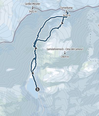 Karte / Turnerkamp (3.418 m) vom Neves Stausee