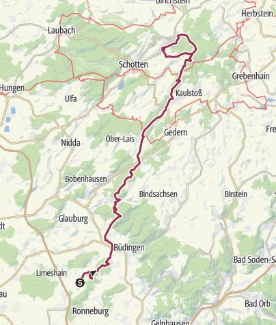 Mapa / Auf zum Hoherodskopf und rein in den Wildsau Trail.