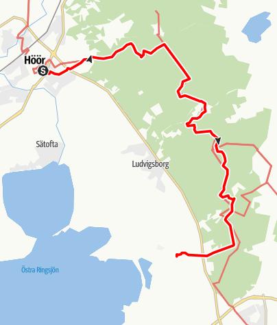 Karta / Sankta Magnhilds väg, Höörs kyrka till Fulltofta kyrka