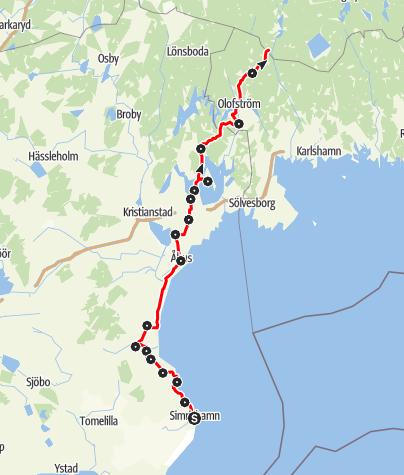 Map / Paradisvägen, Simrishamn till Fridafors