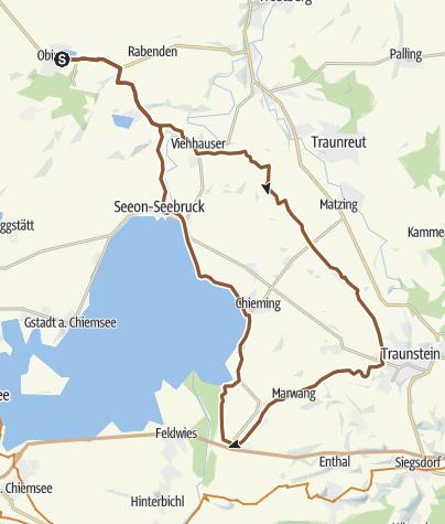 Karte / Radtour von Obing nach Grabenstätt und zurück