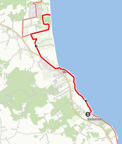 Karta / Paradisvägen, Baskemölla kapell till Sankt Nicolai kapell