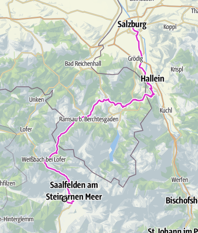 Karte / Rennradtour SalzburgerLand Etappe 4: Saalfelden - Salzburg