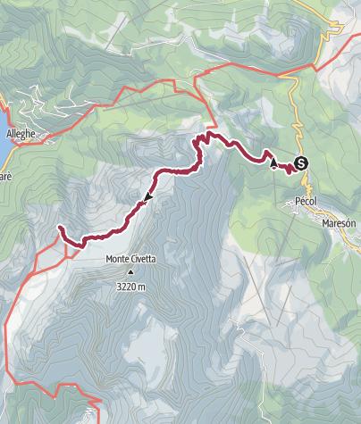 Карта / Lago Coldai Rifugio Tissi