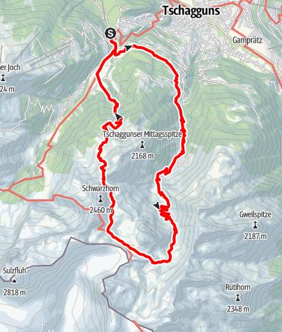 Karte / Rund um die Tschaggunser Mittagsspitze