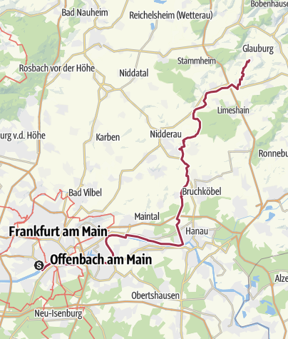 Karte / Bahnradweg 1: Hanau – Glauburg