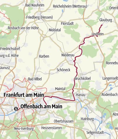 Hartă / Bahnradweg 1: Hanau – Glauburg