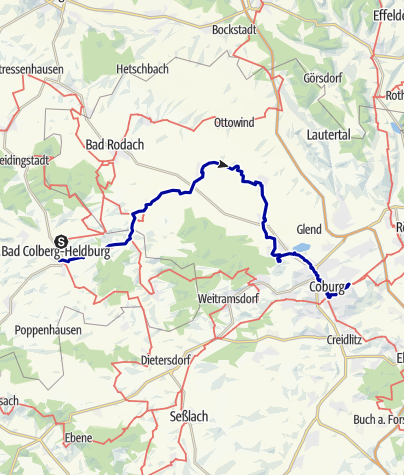 Karte / Lutherweg: Etappe 15 - Von der Veste Heldburg zur Veste Coburg