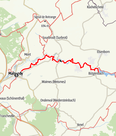 Kaart / GR 56 - Etappe Malmedy / Bütgenbach