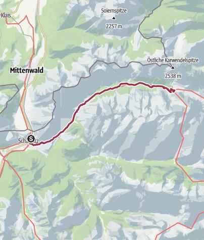 Karte / Die klassische Karwendeltour (Tag 1)