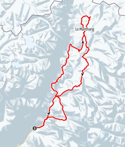 Karte / Upper Mustang: Eine Zeitreise nach Lo Manthang (14 Tage moderates Trekking ab/bis Kathmandu)