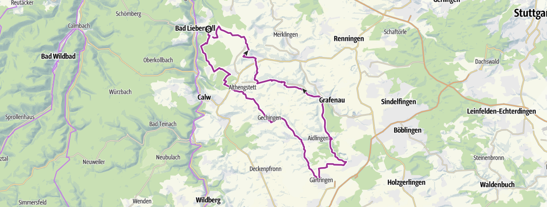 Térkép / Unterhaugstett - Ehingen - Simmozheim (Rundtour)