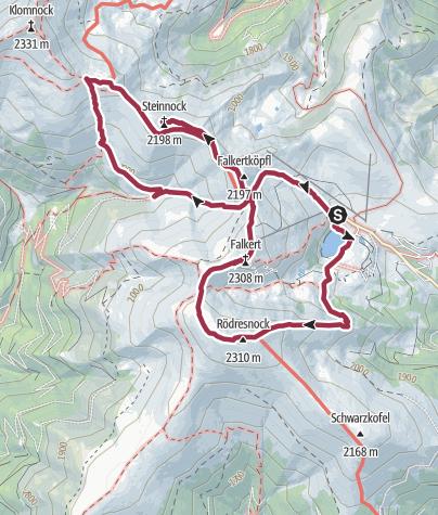 Karte / Gipfeltour vom Falkertsee zum Rodresnock, Falkert & Steinnock