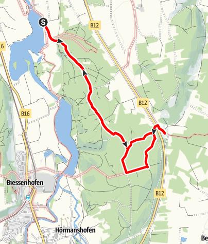 Karte / Ganghofer-Runde südlich von Kaufbeuren (Vom Bärensee zur Mooshütte und zurück)