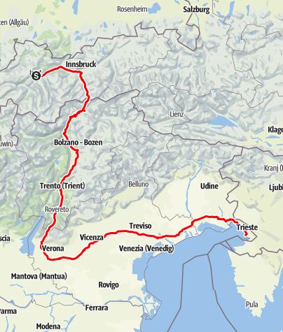 Map / Sisi-Straße - Abschnitt Imst (A) nach Triest (I)