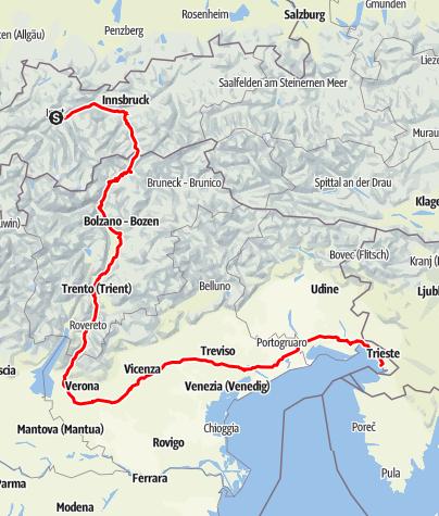 Karte / Sisi-Straße - Abschnitt Imst (A) nach Triest (I)