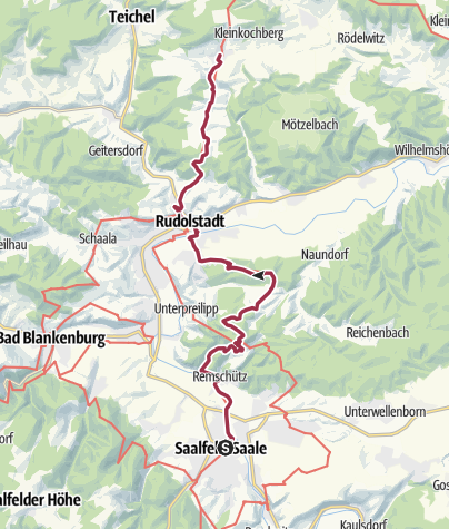 Map / Luther Trail: Section 22 – From Saalfeld to Großkochberg