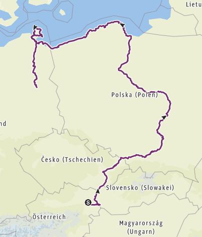Mapa / Wien-Bratislava-Krakau-Warschau-Danzig-Rügen-Berlin