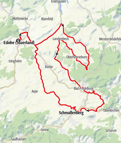 Karte / RTF-Hochsauerlandklassiker 2017 (73 km)