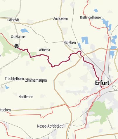 Carte / Lutherweg: Etappe 43 - Von Gierstädt nach Erfurt