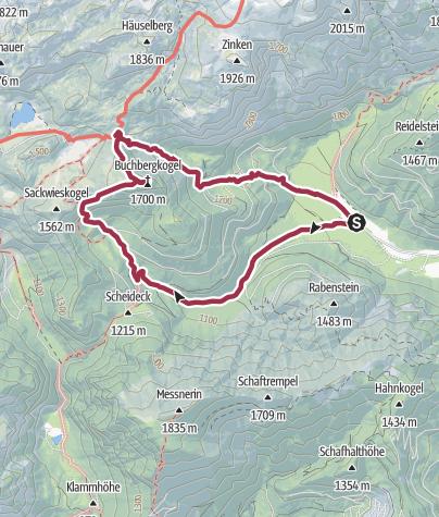 Kartta / Vom Bodenbauer auf den Buchbergkogel, durch die Schafmauern,Häuslalm, Bodenbauer