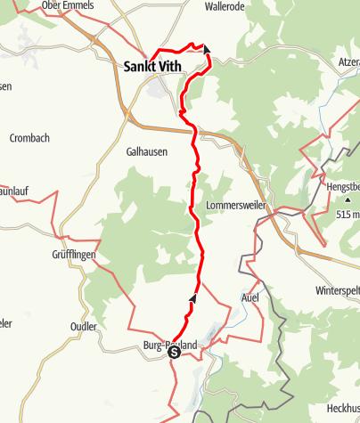 Kaart / Gr 56 – Route Burg-Reuland – St.Vith