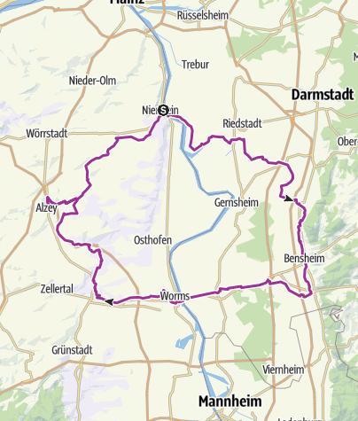 Karte / ADAC GrenzTour Hessen / Rheinland-Pfalz 06: Auf den Spuren der Nibelungen