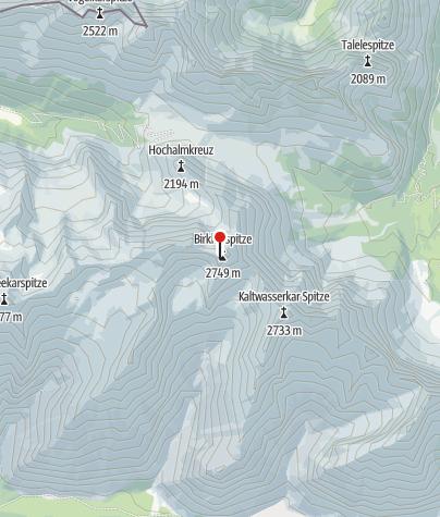 Map / Birkkarspitze und Übergang zum Hallerangerhaus