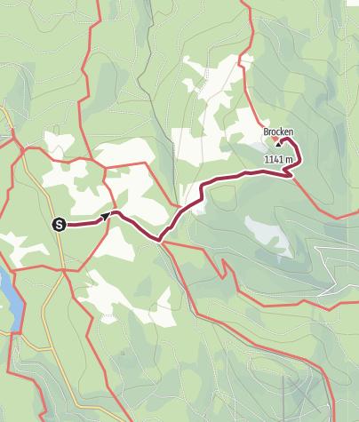 Karte / Wege zum Brocken - ab Ehrenfriedhof