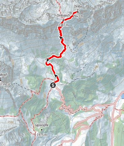 Karte / Klettertour Zimba Westgrat - Gipfelbesteigung im Rätikon