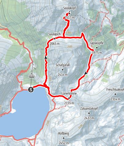 Karte / Gipfeltour Saulakopf Ostwand