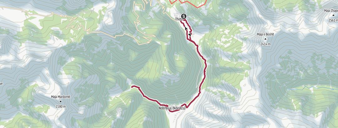 Mappa / Vom Zentrum von Theth zum Blue Eye wandern
