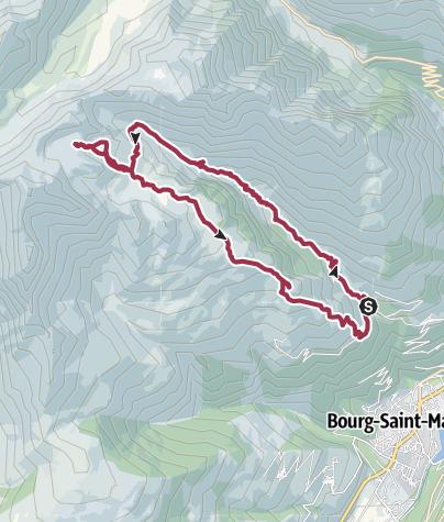 Mapa / Route depuis les 5 lacs depuis les echines