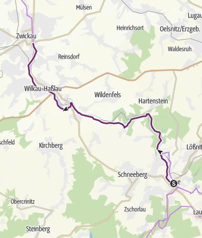 Map / Mulderadweg - Abschnitt Aue bis Zwickau (Zwickauer Mulde)