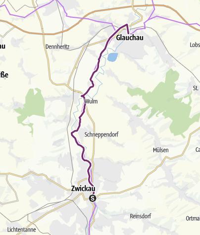 Map / Mulderadweg - Abschnitt Zwickau bis Glauchau (Zwickauer Mulde)