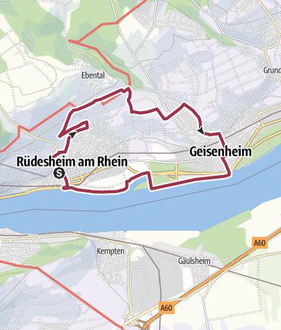Karte / Rundweg Rüdesheim Kloster über Geisenheim zurück