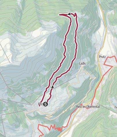 Map / Fiss - Obladis - Wodeturm - Kitzschrifenweg - Rabuschl - Fiss