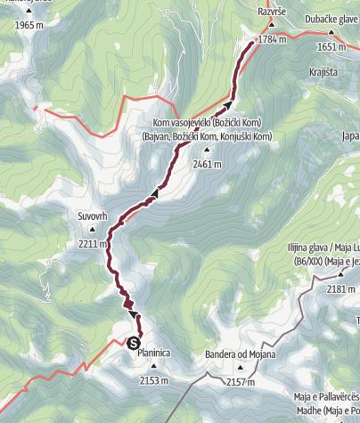 Map / Komovi bivouac - Štavna (Via Dinarica day 9)