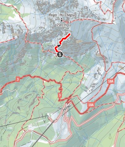 Karte / Heini-Holzer-Klettersteig am Ifinger oberhalb von Schenna