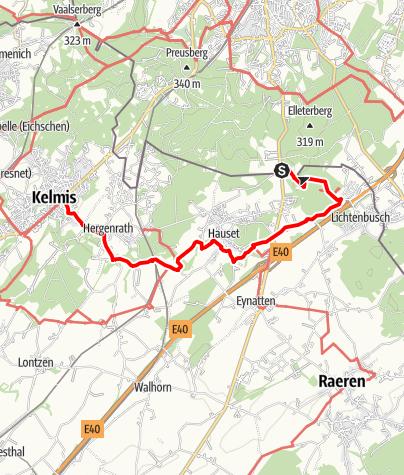 Carte / Route vallée de la Gueule – Etape Source de la Gueule – La Calamine