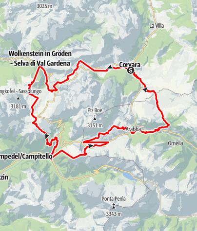 Map / Sellaronda (counterclockwise direction)