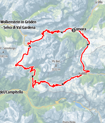 Karte / Sellaronda (Gegen den Uhrzeigersinn)