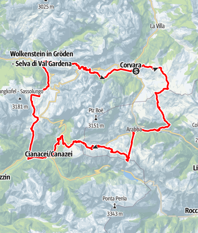 Map / Sellaronda (clockwise direction)