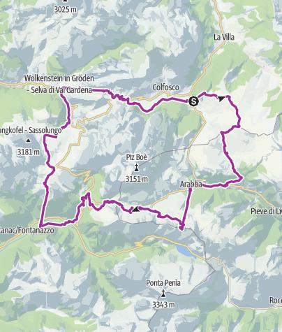 מפה / Sellaronda (Uhrzeigersinn)