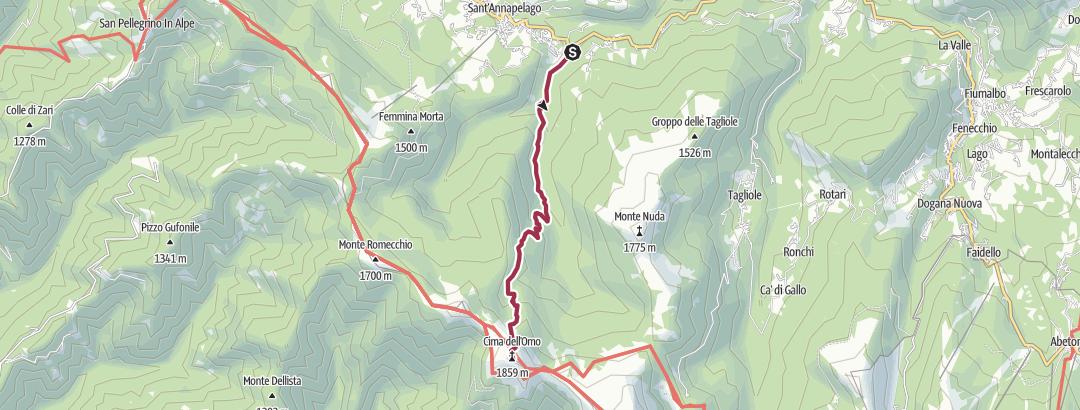 Mappa / Da Ponte Sant'Anna Pelago a Cima Omo