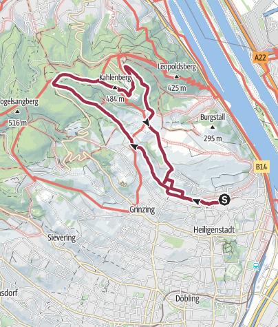 Mappa / Rundwanderung Nussdorf-Kahlenberg-Nussberg