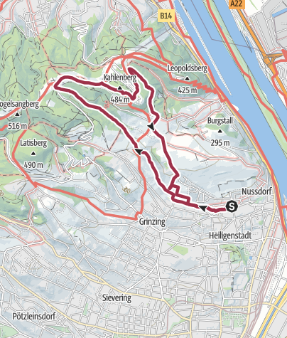 Carte / Rundwanderung Nussdorf-Kahlenberg-Nussberg