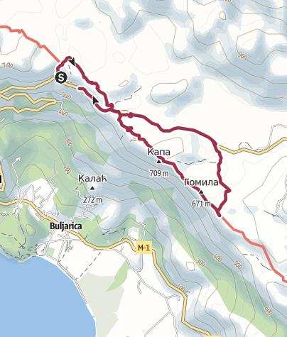 Map / Petrovac - Buljarica mountain tour