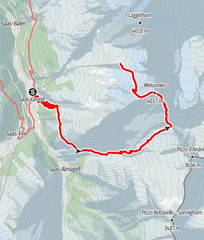 Karte / Weissmies (4.017m)  - Überschreitung von SW-N